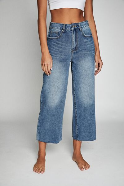 Wide Leg Cropped Jean, BRONTE BLUE