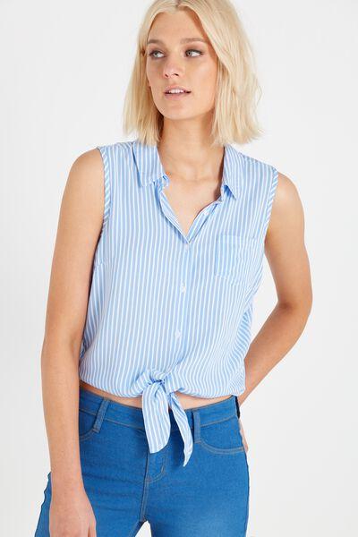 Billie Sleeveless Shirt, BLUE WHITE STRIPE
