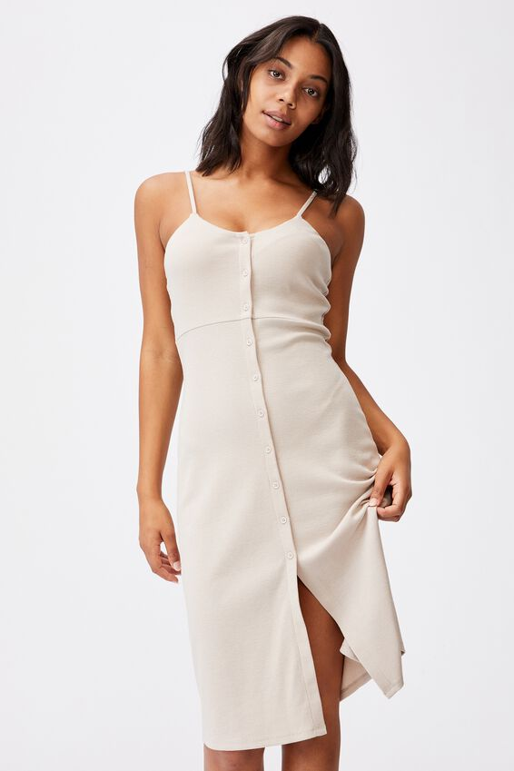 Jillian Button Through Midi Dress, TAUPE