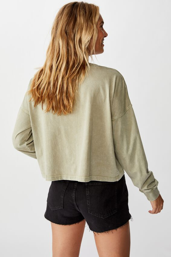 Harris Crew Neck Long Sleeve Top, WASHED OIL GREEN