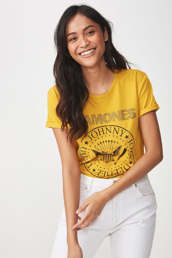 Ramones Premium T Shirt, LCN RAMONES WORLD TOUR/TAWNY OLIVE