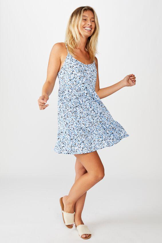 Alessia Strappy Mini Dress, BRONTE DITSY PARISIAN BLUE
