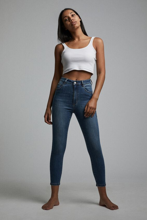 High Rise Cropped Skinny Jean, SURFERS BLUE