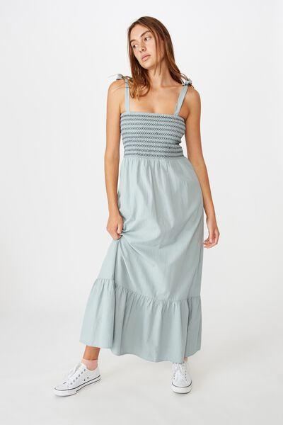 Woven Shae Shirred Midi Dress, ABYSS