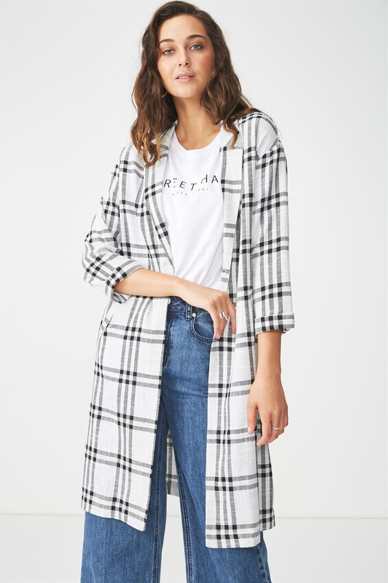 Eden Relaxed Trench, GREY/BLACK CHECK