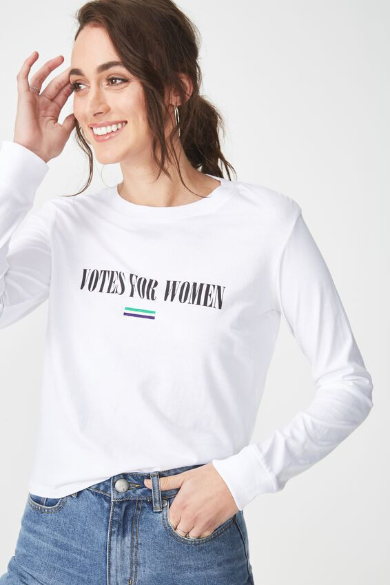 Tbar Tammy Chopped Graphic Long Sleeve Tee, VOTES FOR WOMEN/WHITE