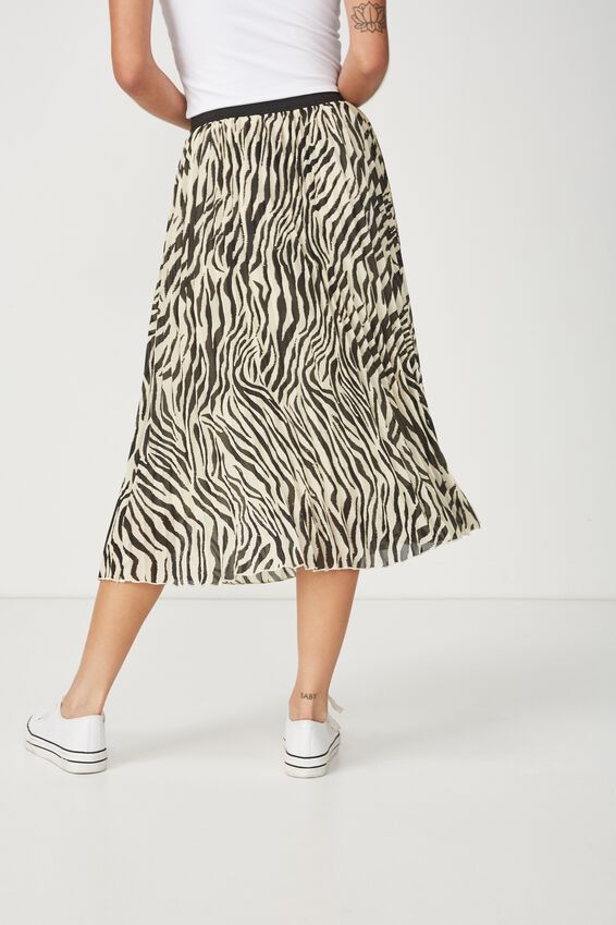 Woven Daria Pleated Midi Skirt, SARAH ZEBRA APRICOT ILLUSION