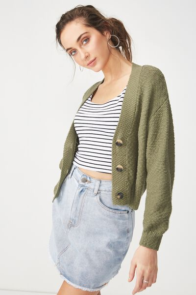 Cropped Button Up Cardi, SOFT KHAKI