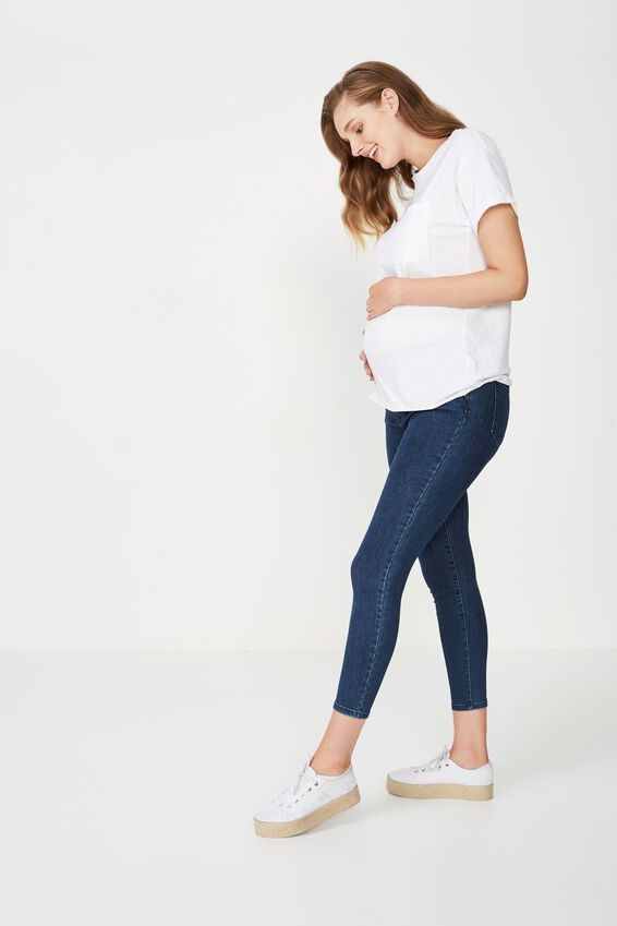 Mid Rise Maternity Grazer, MID BLUE