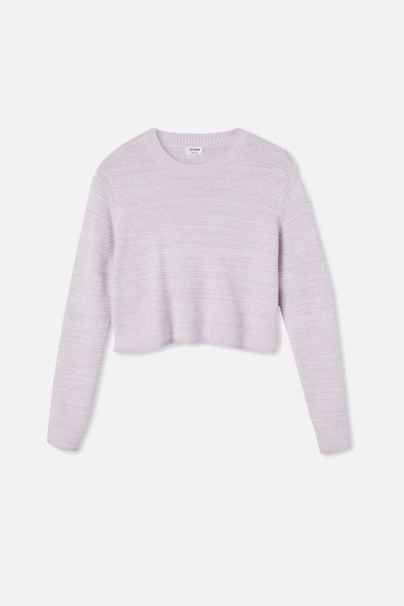 Cotton Cropped Pullover, FROSTY LILAC SNOW WHITE TWIST