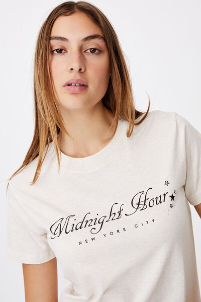 Classic Slogan T Shirt, MIDNIGHT HOUR/GARDENIA MARLE
