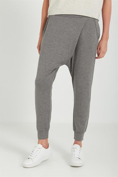 Relaxed Wrap Jersey Pant, CHARCOAL MARLE