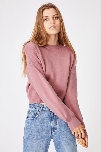 Chloe Crew Luxe Pullover, BLUSH