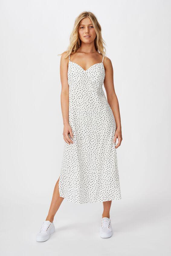 Woven Veronica V Midi Slip Dress, NADIA SPOT CANNOLI CREAM