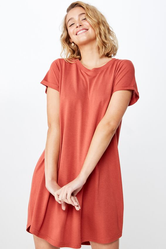 Tina Tshirt Dress 2, RUSTIC RED