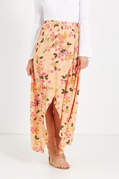Woven Raya Wrap Maxi Skirt, PAULA FLORAL PEACH SAND