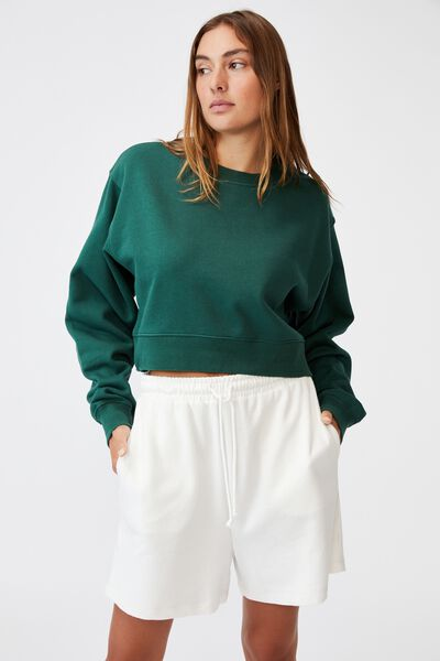 Classic Cropped Sweatshirt, HERITAGE GREEN