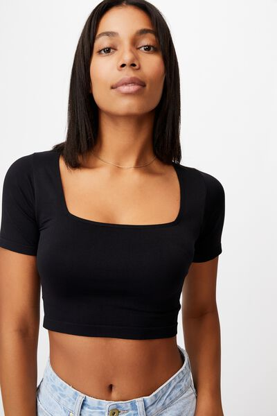 Sadie Square Neck Seamless Tee, BLACK