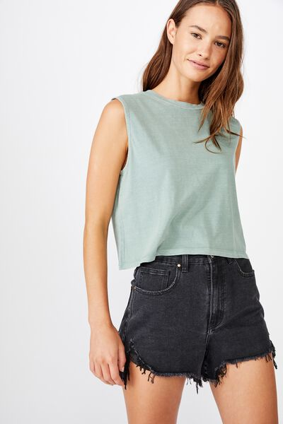The Chop Muscle Tank, WASHED CHINOIS GREEN