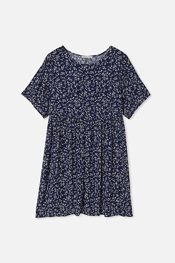 Curve Good Times Babydoll Mini Dress, SERENA DITSY MEDIVAL BLUE