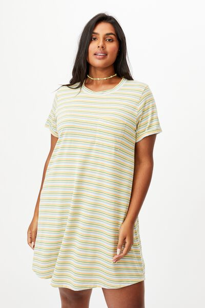 Curve Relaxed Tee Dress, GRACIE STRIPE BLUE