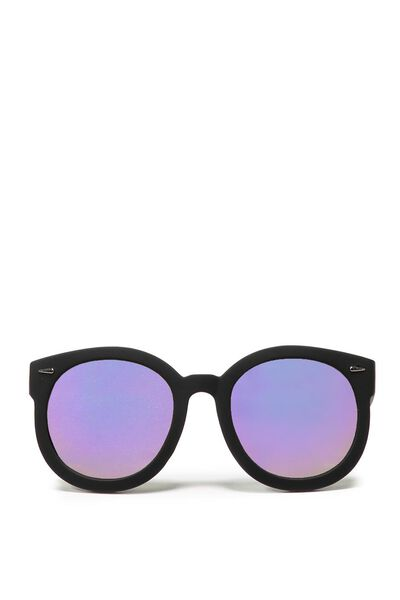 Farrah Round Sunglasses, BLACK/PURPLE REV