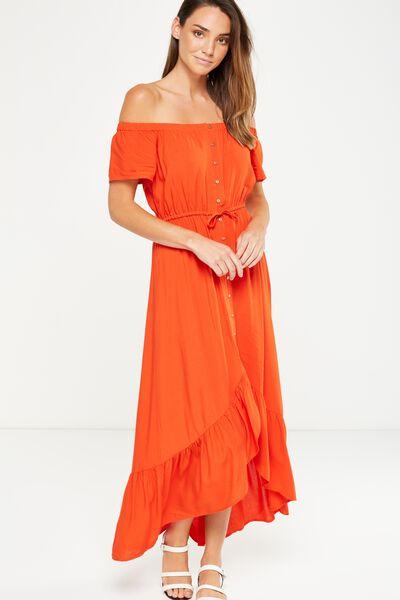 Woven Willa Off The Shoulder Dress, FLAMENCO