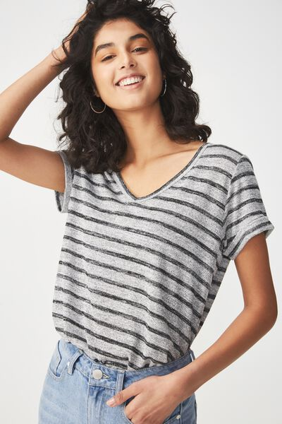 Karly Short Sleeve V Neck Top, GREY TWIST/WHITE STRIPE