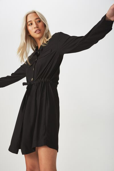 Woven Elle Long Sleeved Shirt Dress, BLACK