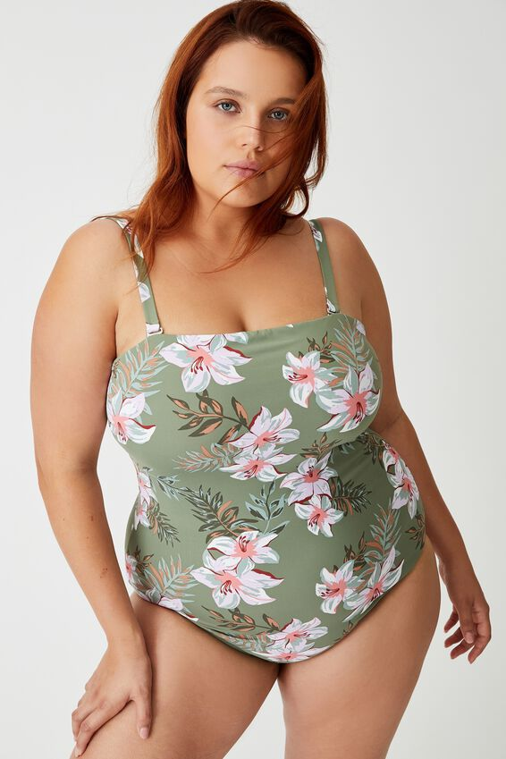 Curve Strapless One Piece Cheeky, TROPICAL COOL AVOCADO