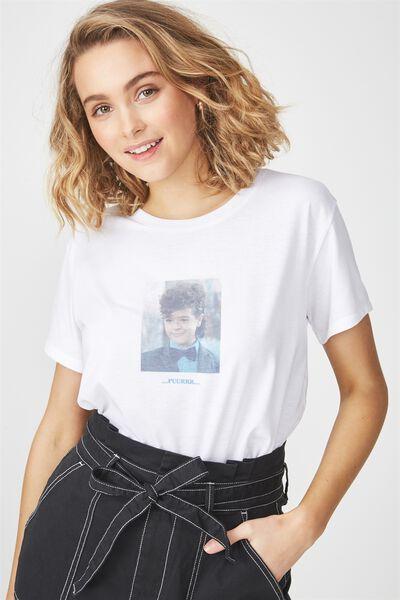 Tbar Fox Graphic T Shirt, LCN STRANGER THINGS DUSTIN/WHITE