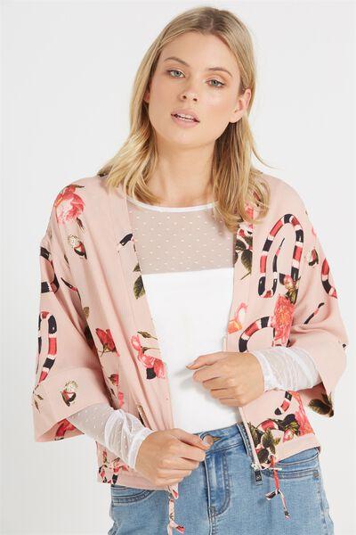 Demi Kimono Bomber Jacket, CORAL SNAKES NUDE PINK