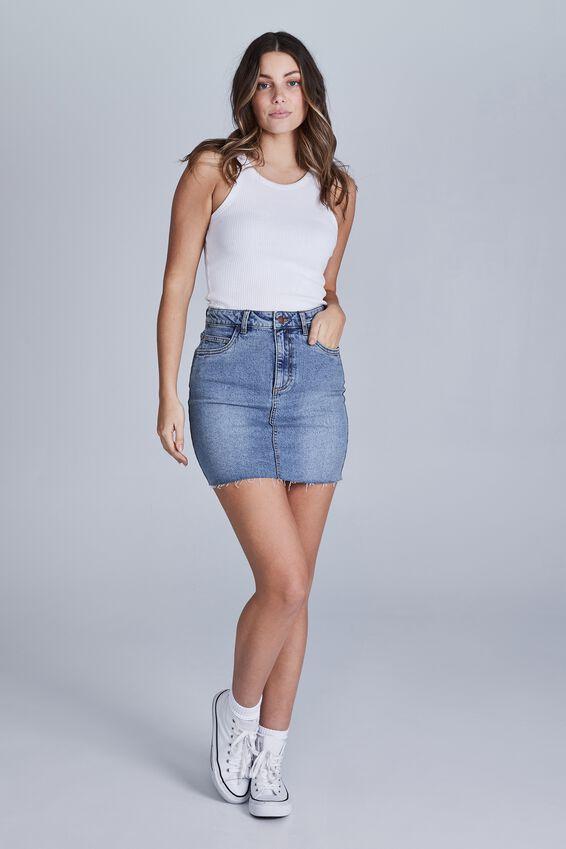 Classic Stretch Denim Mini Skirt, WATERGOES BLUE