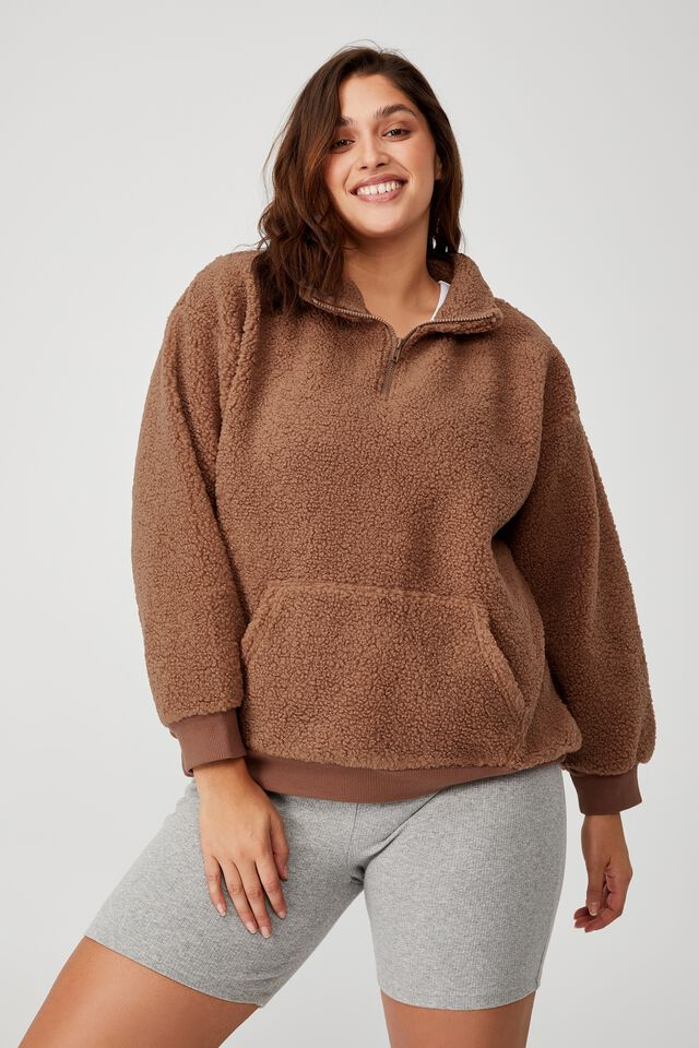 Curve Quarter Zip Through Teddy Pullover, COCOA BEAN