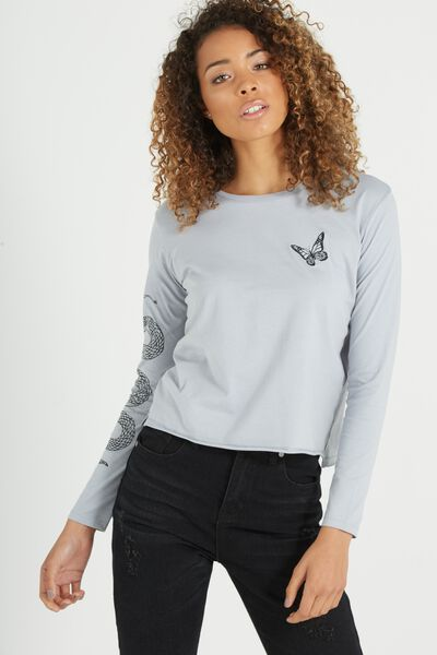 Tbar Long Sleeve Graphic Chop Tee, BUTTERFLY SNAKE/BLUE ICE