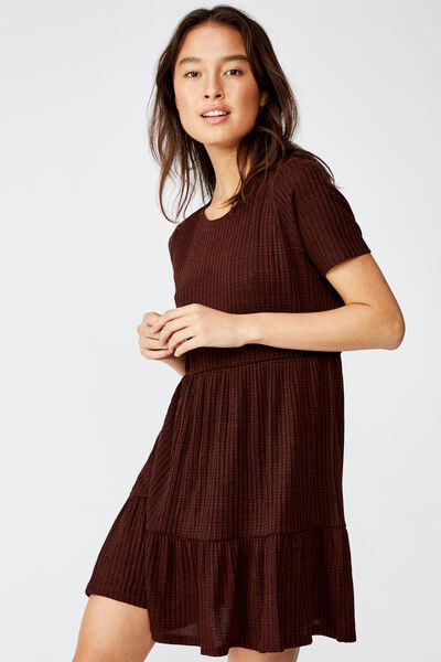 Carissa Short Sleeve Babydoll Mini Dress, LAURA CHECK CHOCOLATE FONDANT