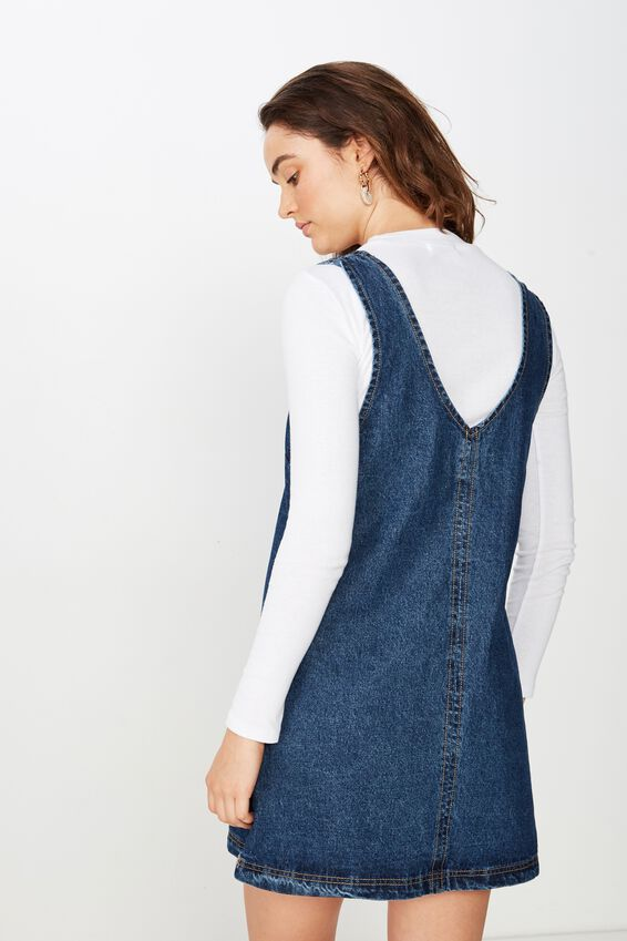 Front Pocket Denim Pinafore, MID BLUE