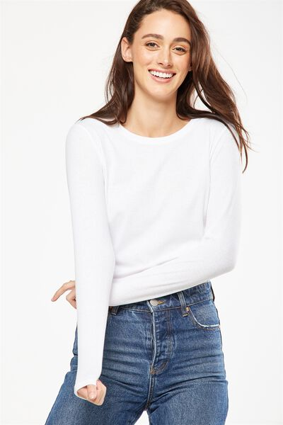 Baby Tee Long Sleeve Rib, WHITE