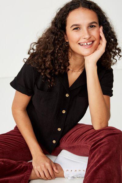 Erika Short Sleeve Shirt, BLACK