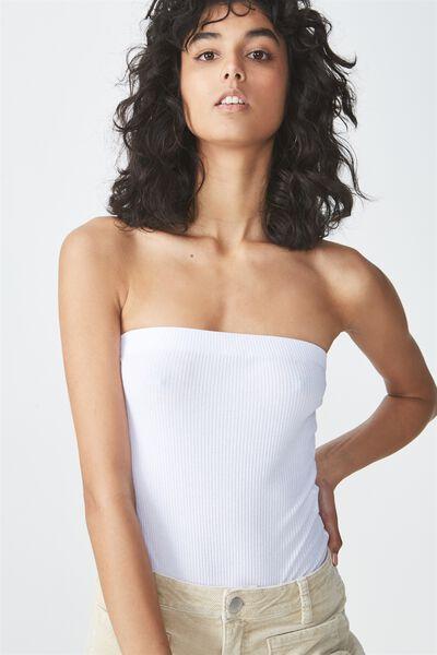 Kylie Strapless Bodysuit, WHITE