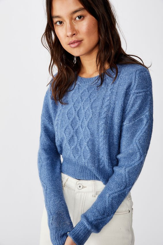 Cable Cropped Crew Neck, FADED DENIM