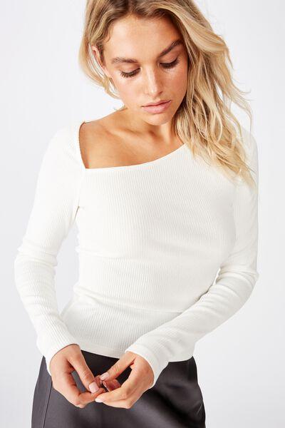 Braxton Asymmetric Long Sleeve Top, WHITE