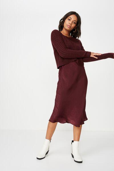 Woven Belle Bias Midi Skirt, FIG