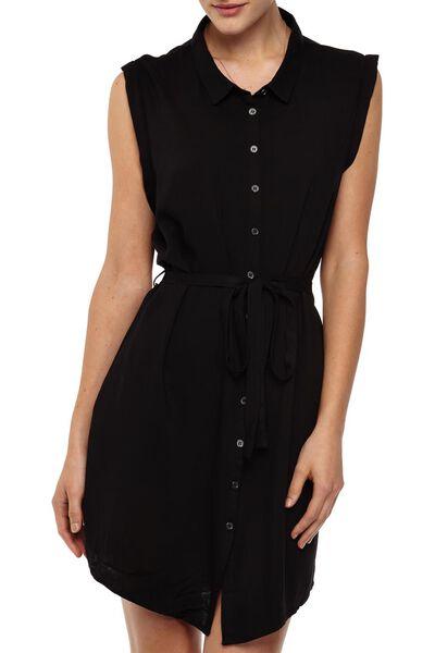 Woven Alexis Short Sleeve Shirt Dress, BLACK