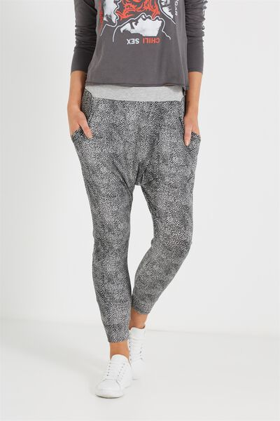 Relaxed Wrap Jersey Pant, ZEBS CHARCOAL / BLACK
