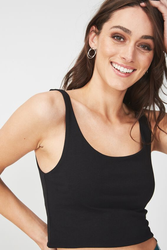 Everyday Crop Tank, BLACK