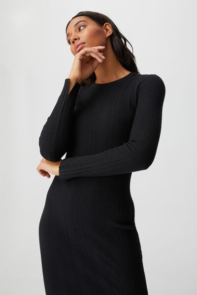 Ultimate Knit Midi Dress, BLACK
