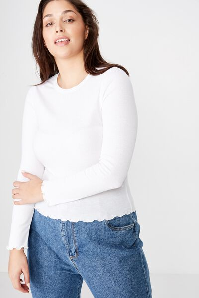 Curve Sister Long Sleeve Top, WHITE