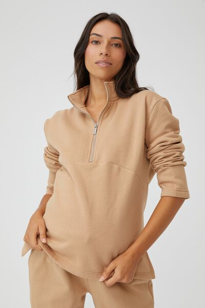 Maternity Zip Front Fleece, CARAMEL BROWN