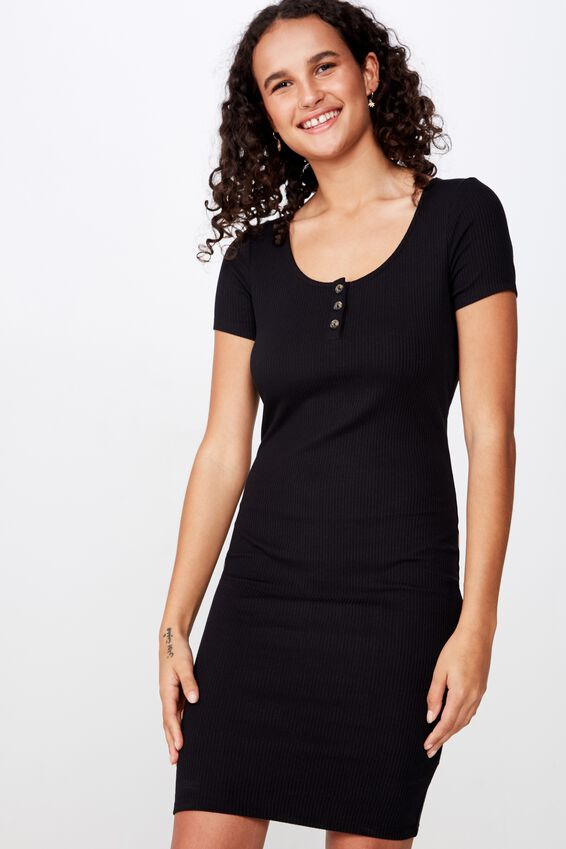 Gabby Short Sleeve Mini Dress, BLACK RIB